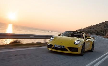 2020 Porsche 911 Carrera S Cabriolet (Color: Racing Yellow) Front Three-Quarter Wallpaper 450x275 (123)