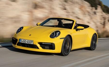 2020 Porsche 911 Carrera S Cabriolet (Color: Racing Yellow) Front Three-Quarter Wallpaper 450x275 (140)