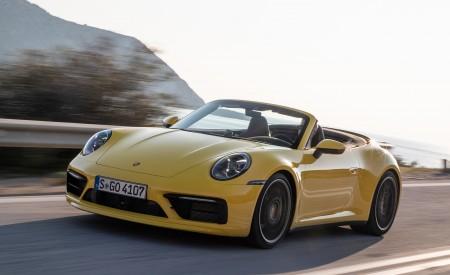 2020 Porsche 911 Carrera S Cabriolet (Color: Racing Yellow) Front Three-Quarter Wallpaper 450x275 (124)