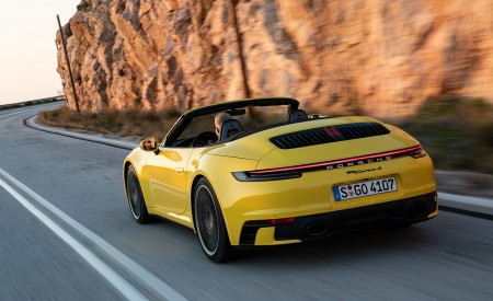 2020 Porsche 911 Carrera S Cabriolet (Color: Racing Yellow) Rear Three-Quarter Wallpaper 450x275 (146)