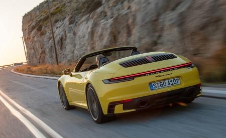 2020 Porsche 911 Carrera S Cabriolet (Color: Racing Yellow) Rear Three-Quarter Wallpaper 450x275 (135)