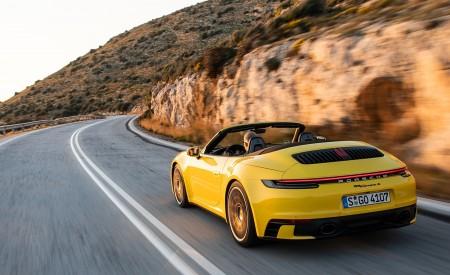 2020 Porsche 911 Carrera S Cabriolet (Color: Racing Yellow) Rear Three-Quarter Wallpaper 450x275 (136)