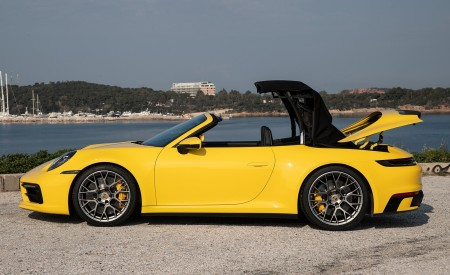2020 Porsche 911 Carrera S Cabriolet (Color: Racing Yellow) Side Wallpaper 450x275 (160)