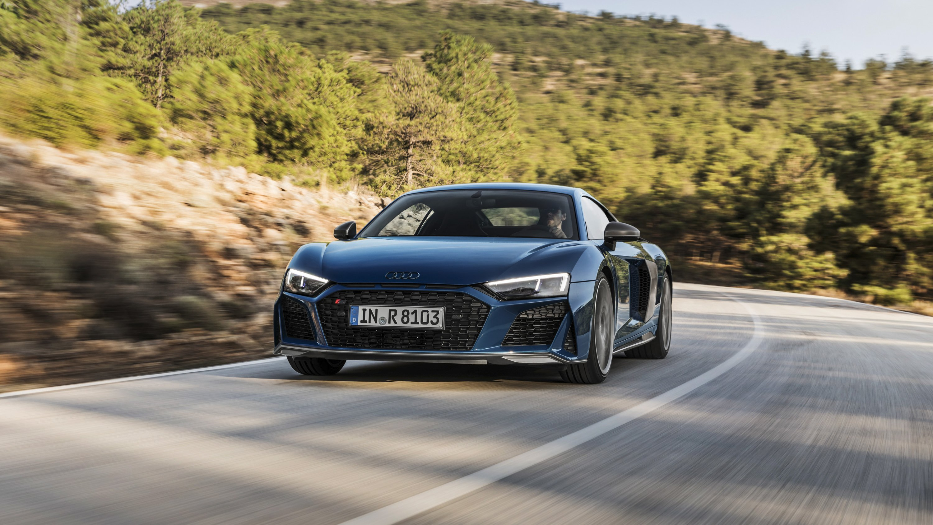 2019 Audi R8 Coupe (Color: Ascari Blue Metallic) Front Wallpaper (5)