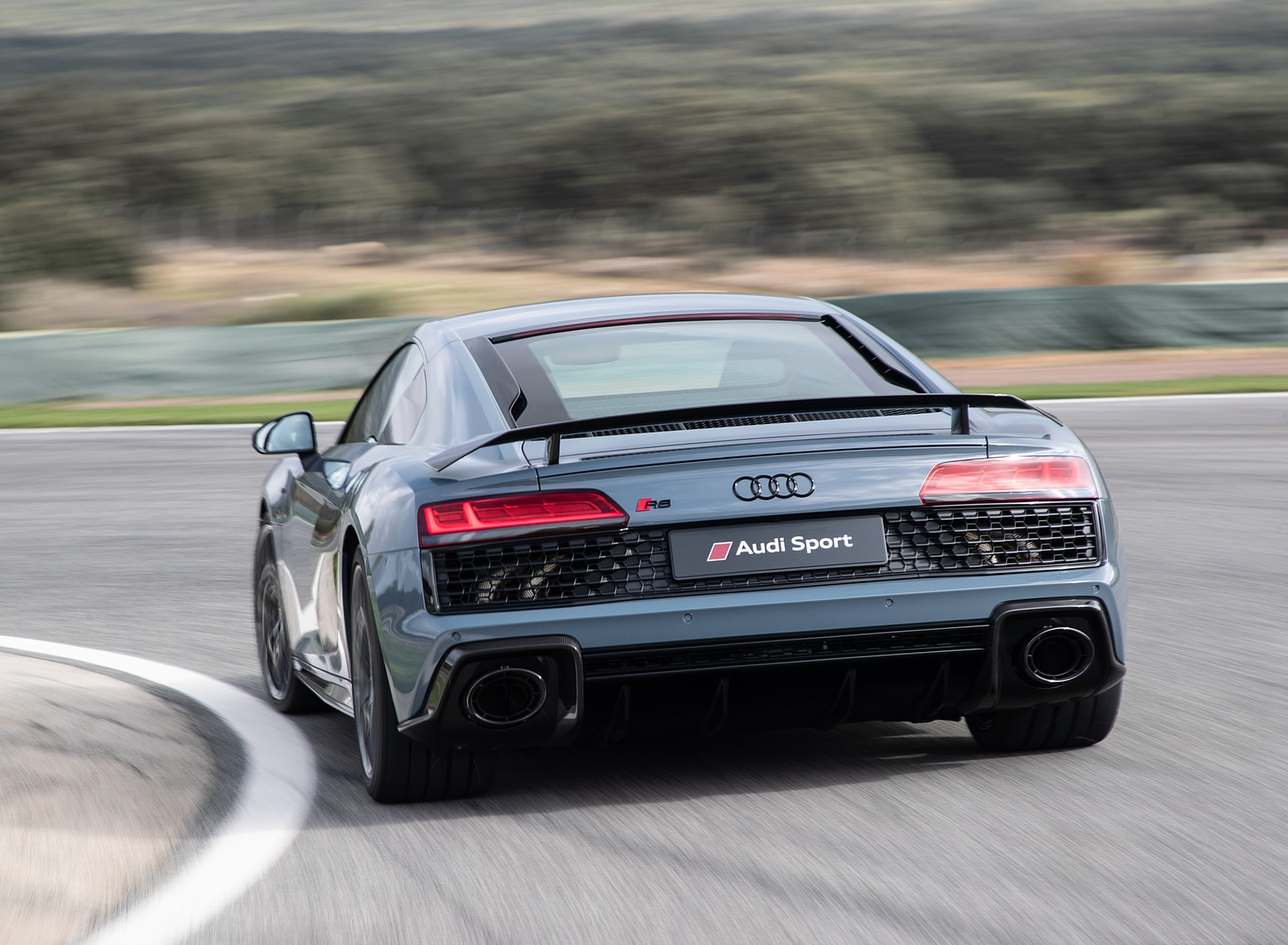 2019 Audi R8 V10 Coupe (Color: Kemora Gray Metallic) Rear Wallpaper (15)