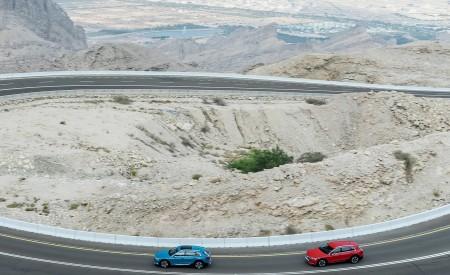 2019 Audi e-tron (Color: Antigua Blue) and Audi e-tron (Color: Catalunya Red) Side Wallpaper 450x275 (2)