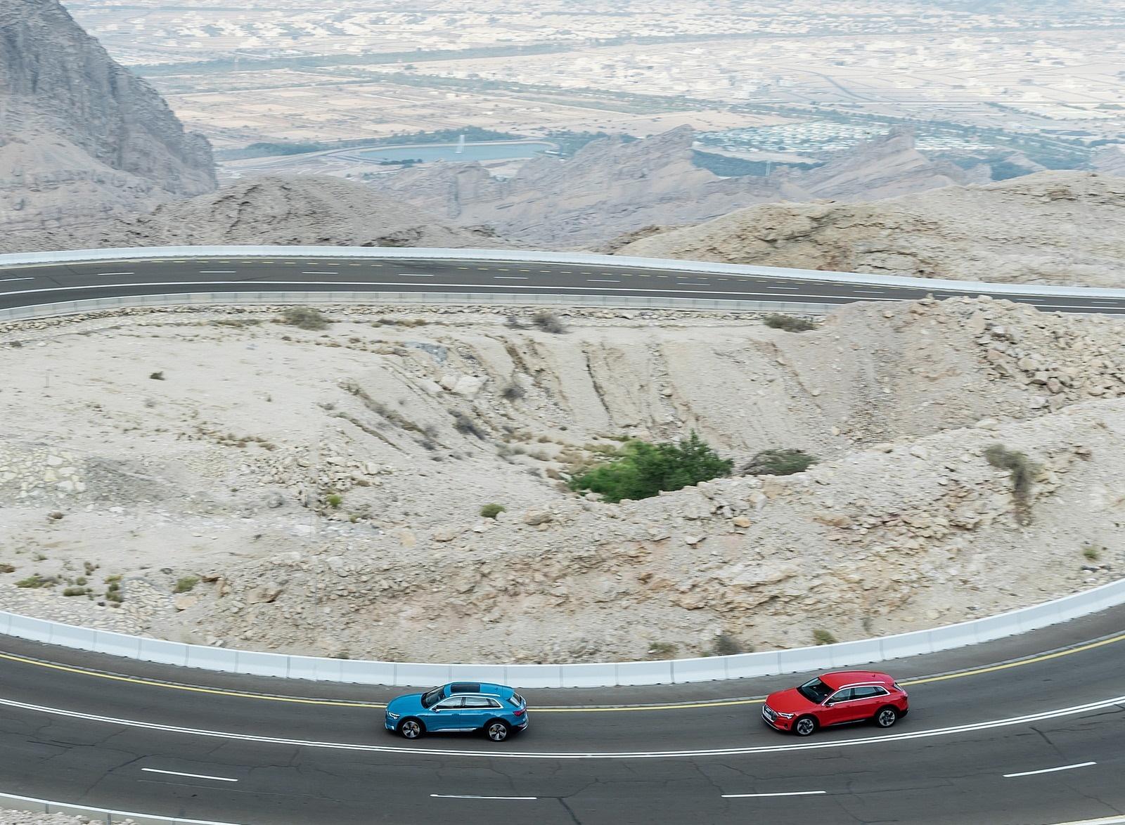 2019 Audi e-tron (Color: Antigua Blue) and Audi e-tron (Color: Catalunya Red) Side Wallpapers (2)