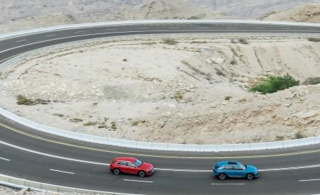 2019 Audi e-tron (Color: Catalunya Red) and Audi e-tron (Color: Antigua Blue) Side Wallpaper 450x275 (14)