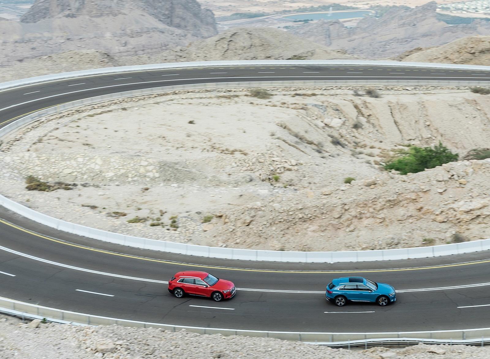 2019 Audi e-tron (Color: Catalunya Red) and Audi e-tron (Color: Antigua Blue) Side Wallpaper (14)