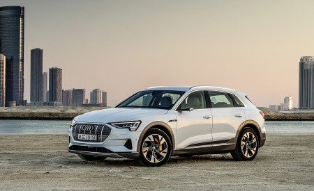 2019 Audi e-tron (Color: Glacier White) Front Three-Quarter Wallpaper 450x275 (223)