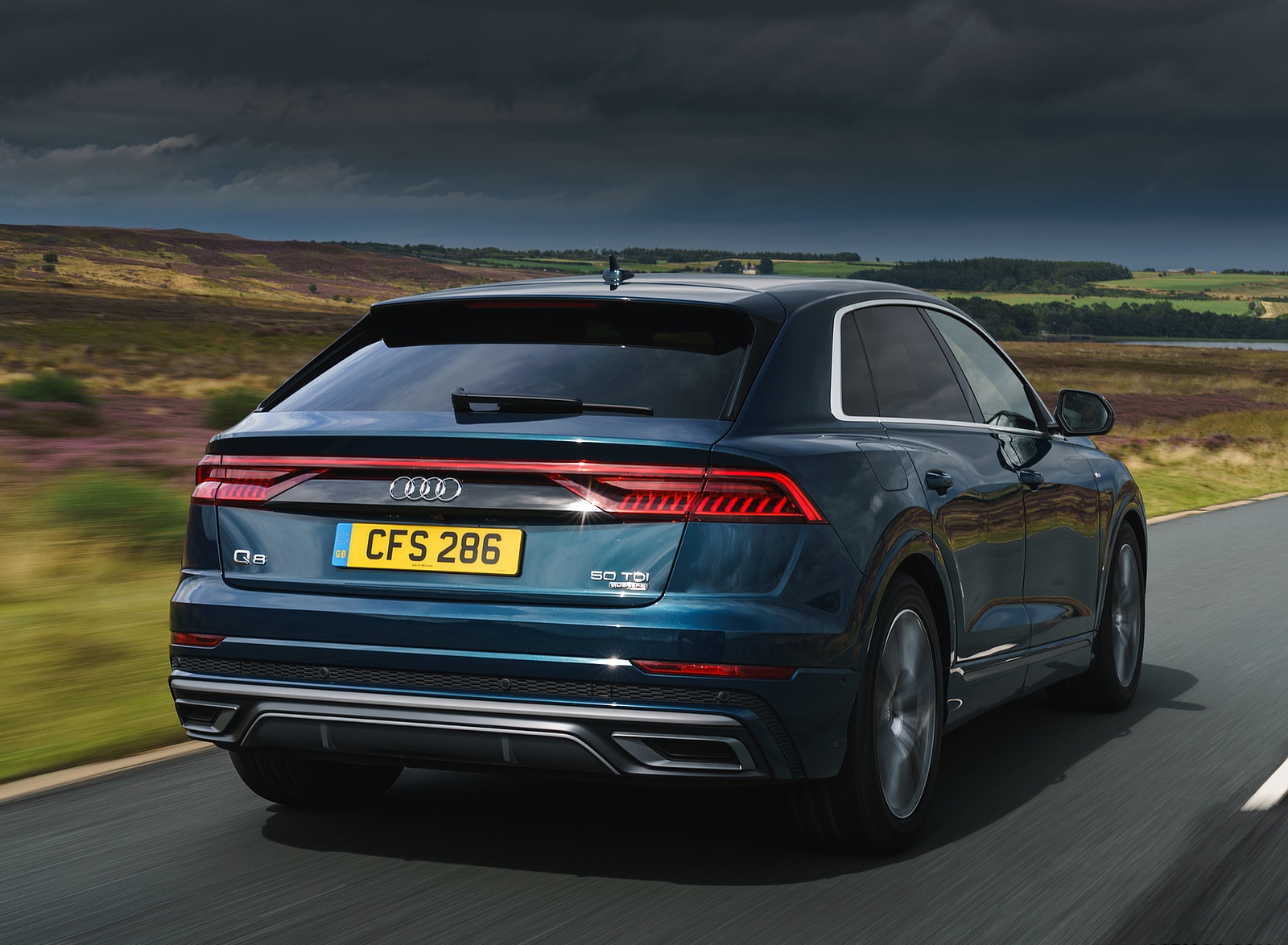 2019 Audi Q8 S Line 50 TDI Quattro (UK-Spec) Rear Three-Quarter Wallpaper (5)
