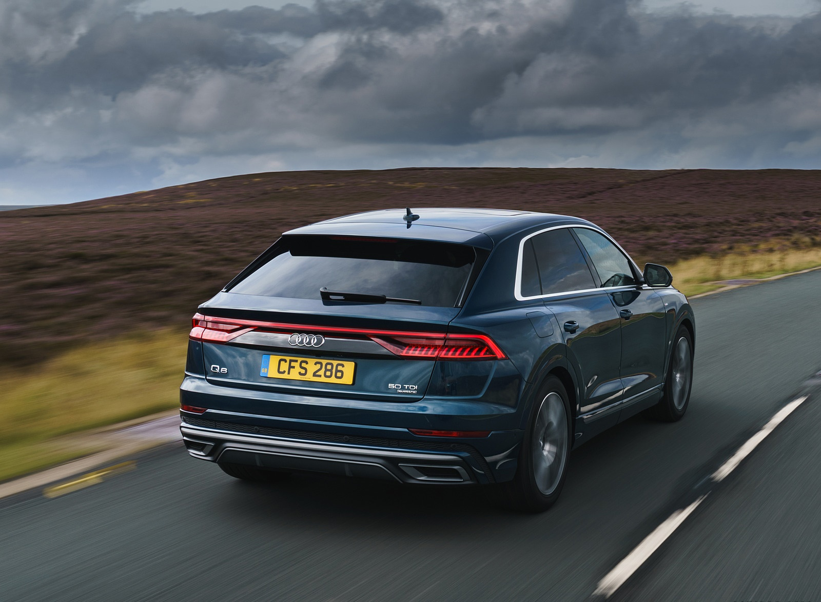 2019 Audi Q8 S Line 50 TDI Quattro (UK-Spec) Rear Three-Quarter Wallpaper (6)