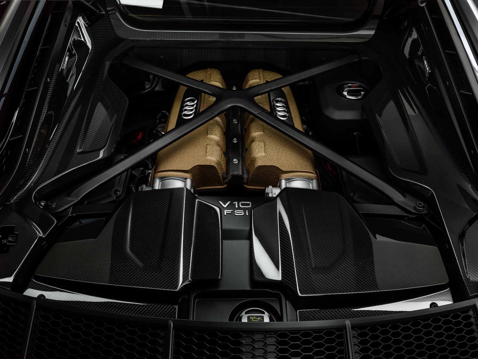 2019 Audi R8 V10 Decennium (Color: Daytona Gray Matt) Engine Wallpaper (6)