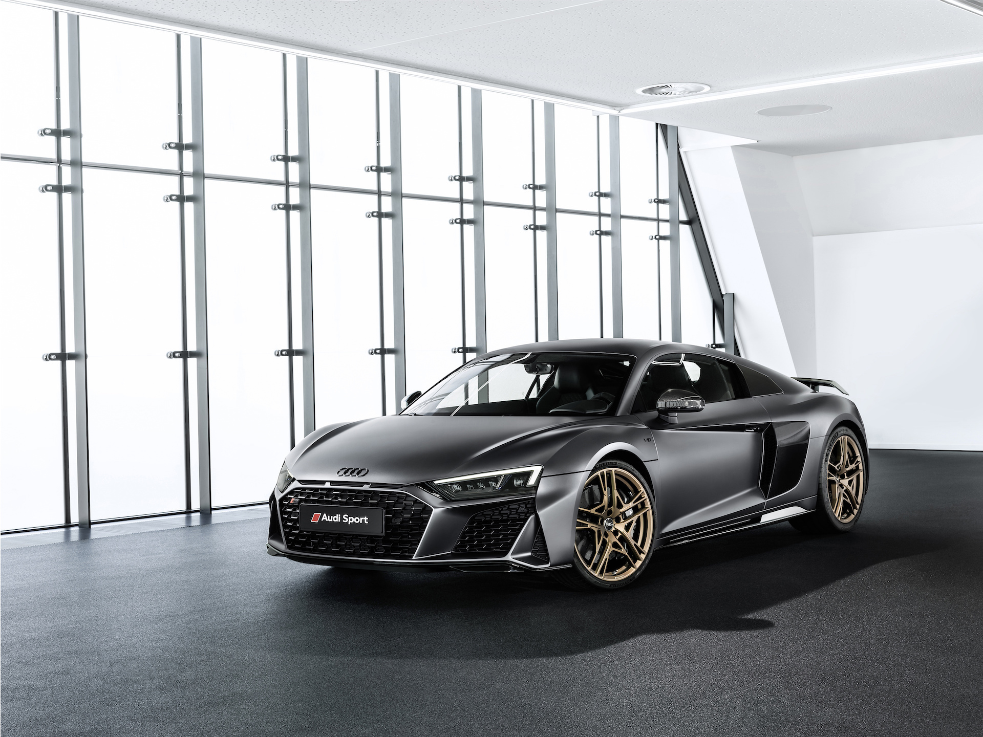 2019 Audi R8 V10 Decennium (Color: Daytona Gray Matt) Front Three-Quarter Wallpapers (1)
