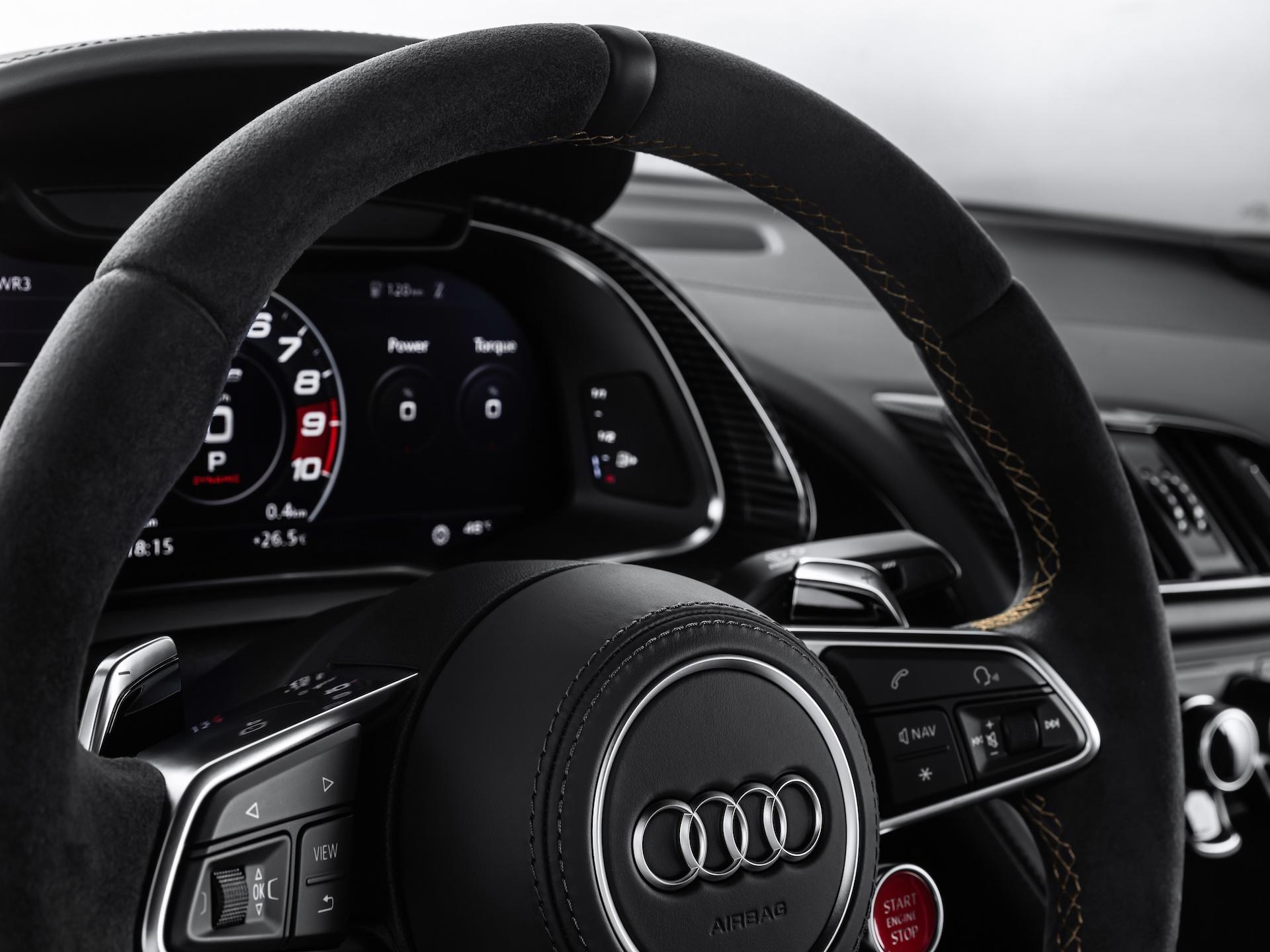2019 Audi R8 V10 Decennium (Color: Daytona Gray Matt) Interior Steering Wheel Wallpaper (15)