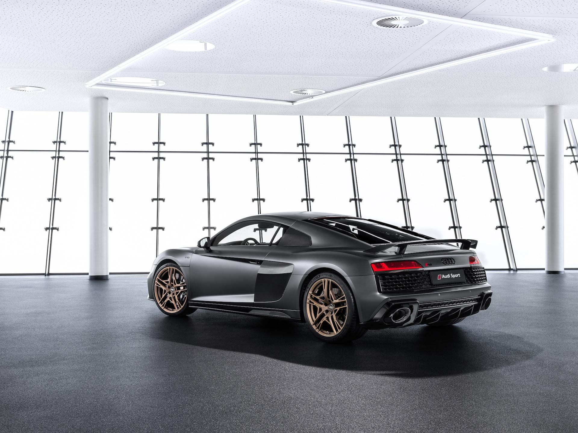 2019 Audi R8 V10 Decennium (Color: Daytona Gray Matt) Rear Wallpaper (4)