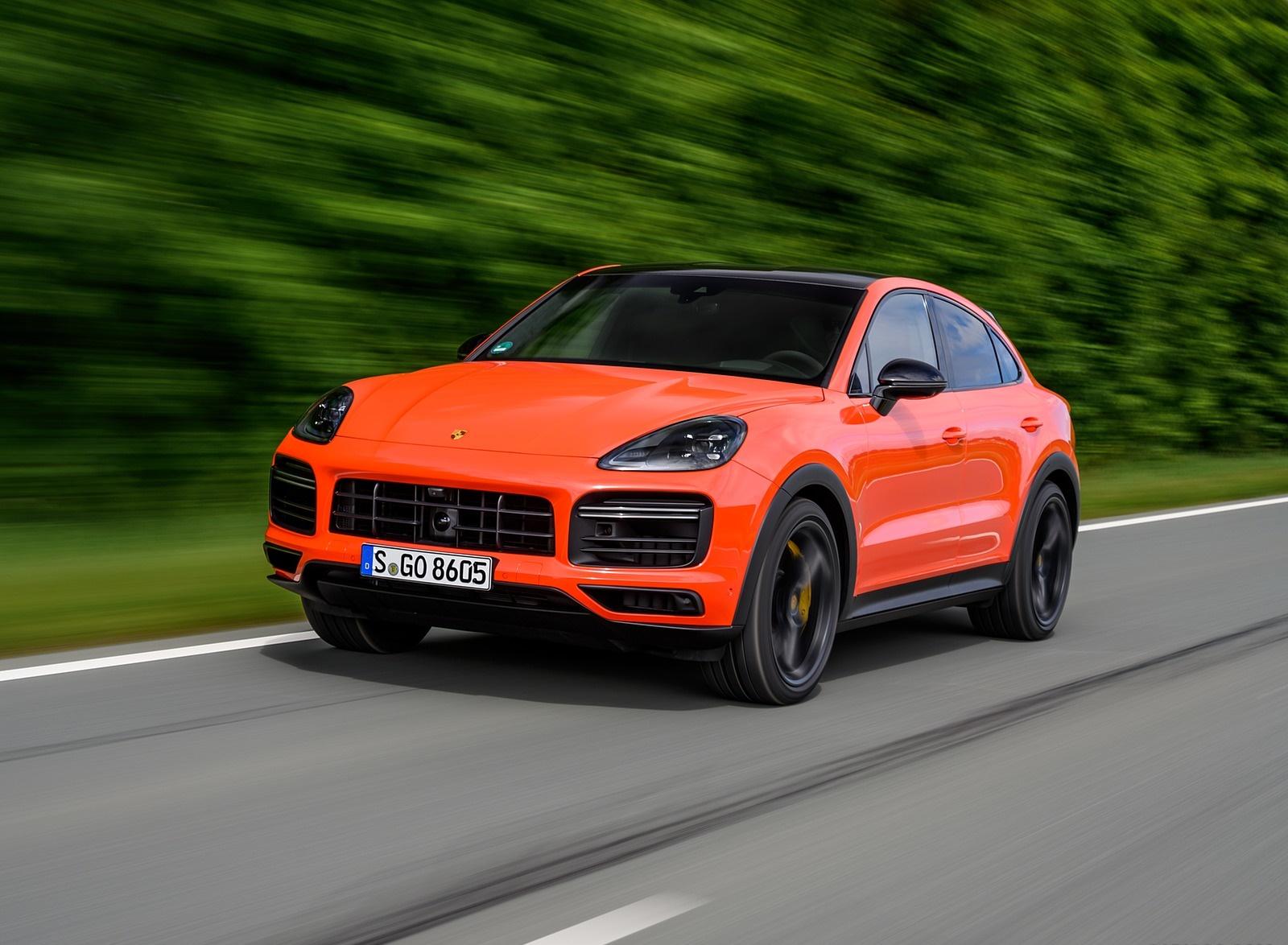 2020 Porsche Cayenne Turbo Coupe (Color: Lava Orange) Front Three-Quarter Wallpapers (1)
