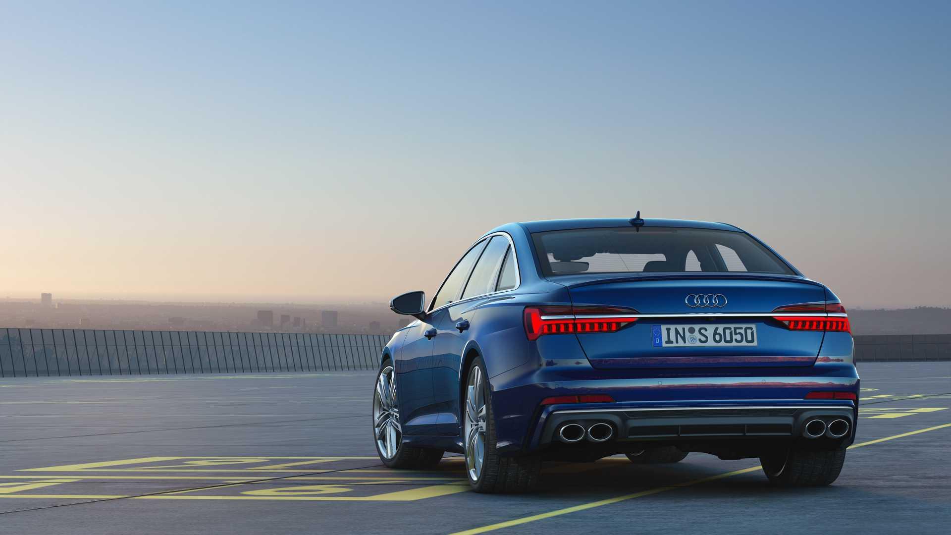 2019 Audi S6 Sedan TDI (Color: Navarra Blue) Rear Wallpaper (14)