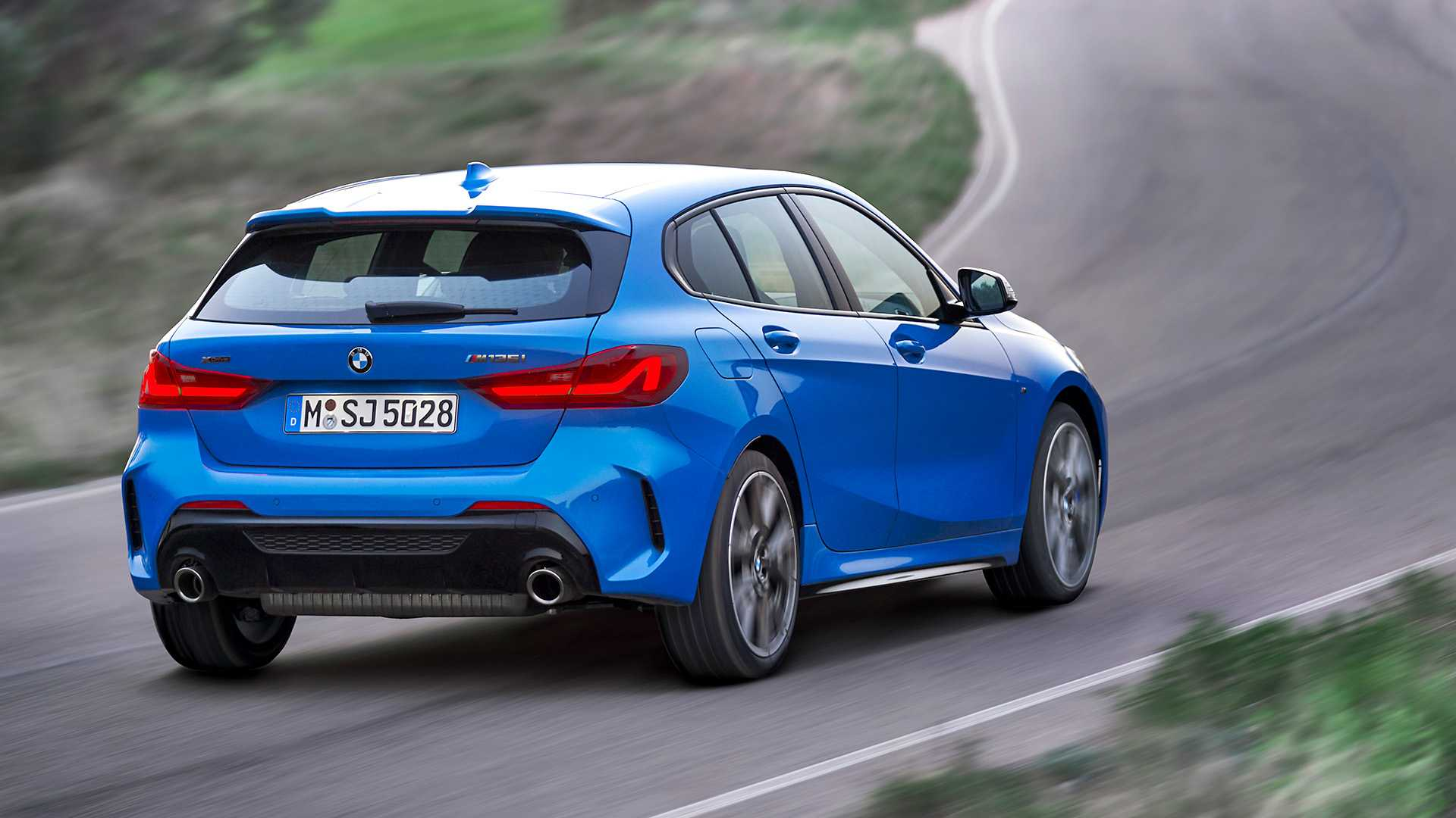 2020 BMW M135i xDrive (Color: Misano Blue Metallic) Rear Three-Quarter Wallpapers (6)