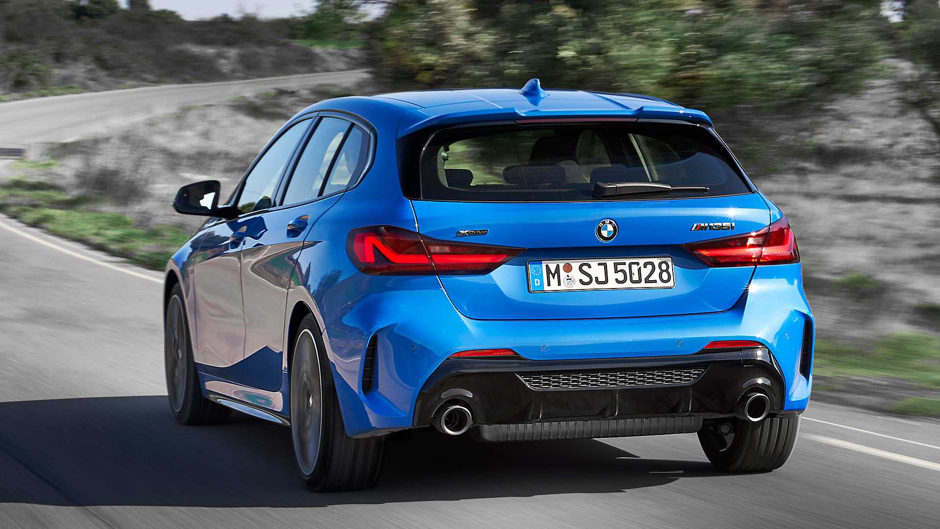 2020 BMW M135i xDrive (Color: Misano Blue Metallic) Rear Wallpapers (8)