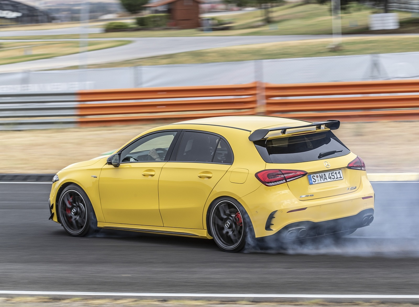 2020 Mercedes-AMG A 45 S 4MATIC+ (Color: Sun Yellow) Rear Three-Quarter Wallpapers (11)