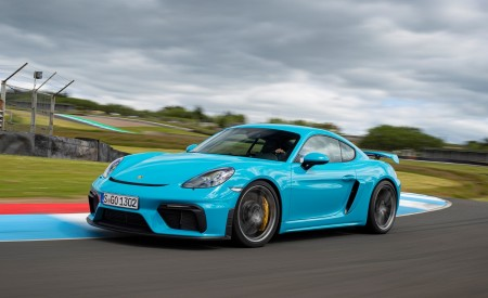 2020 Porsche 718 Cayman GT4 (Color: Miami Blue) Front Three-Quarter Wallpapers 450x275 (95)