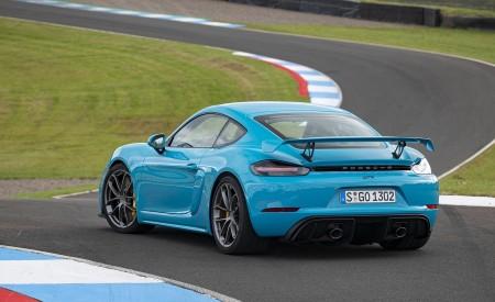 2020 Porsche 718 Cayman GT4 (Color: Miami Blue) Rear Three-Quarter Wallpapers 450x275 (109)