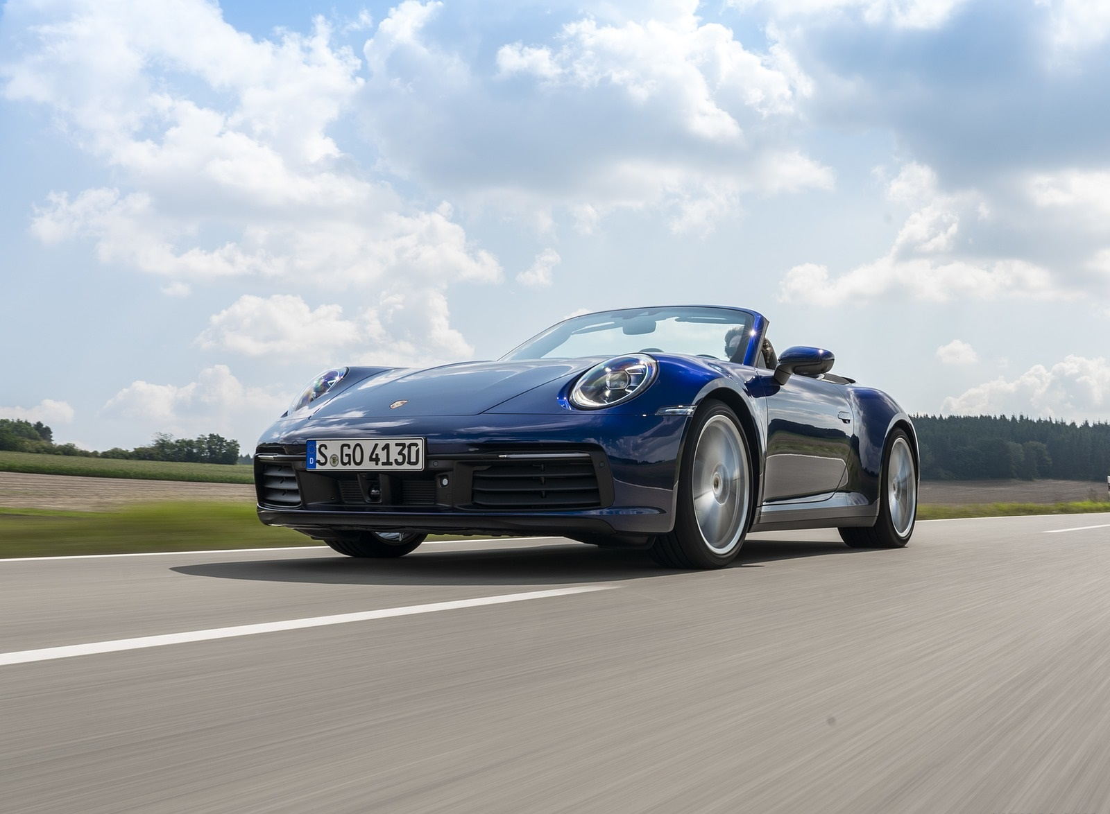2020 Porsche 911 Carrera Cabriolet (Color: Gentian Blue Metallic) Front Three-Quarter Wallpapers (1)
