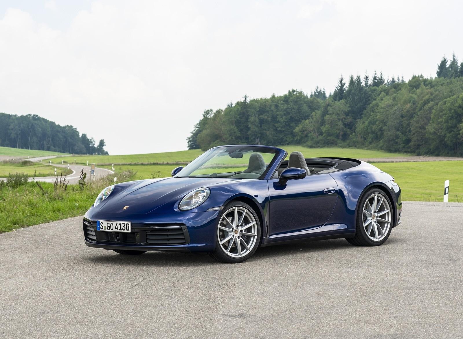2020 Porsche 911 Carrera Cabriolet Color Gentian Blue Metallic Front Three Quarter Wallpapers 23 Newcarcars