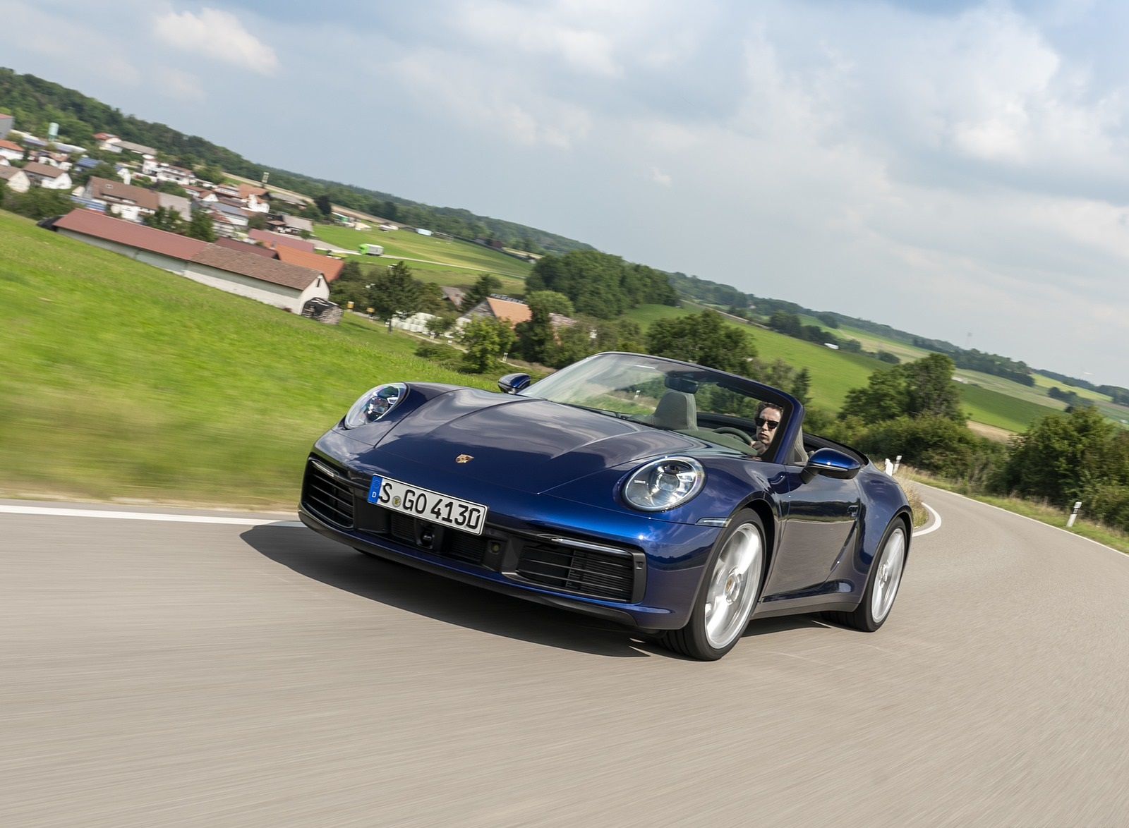 2020 Porsche 911 Carrera Cabriolet (Color: Gentian Blue Metallic) Front Three-Quarter Wallpapers (2)