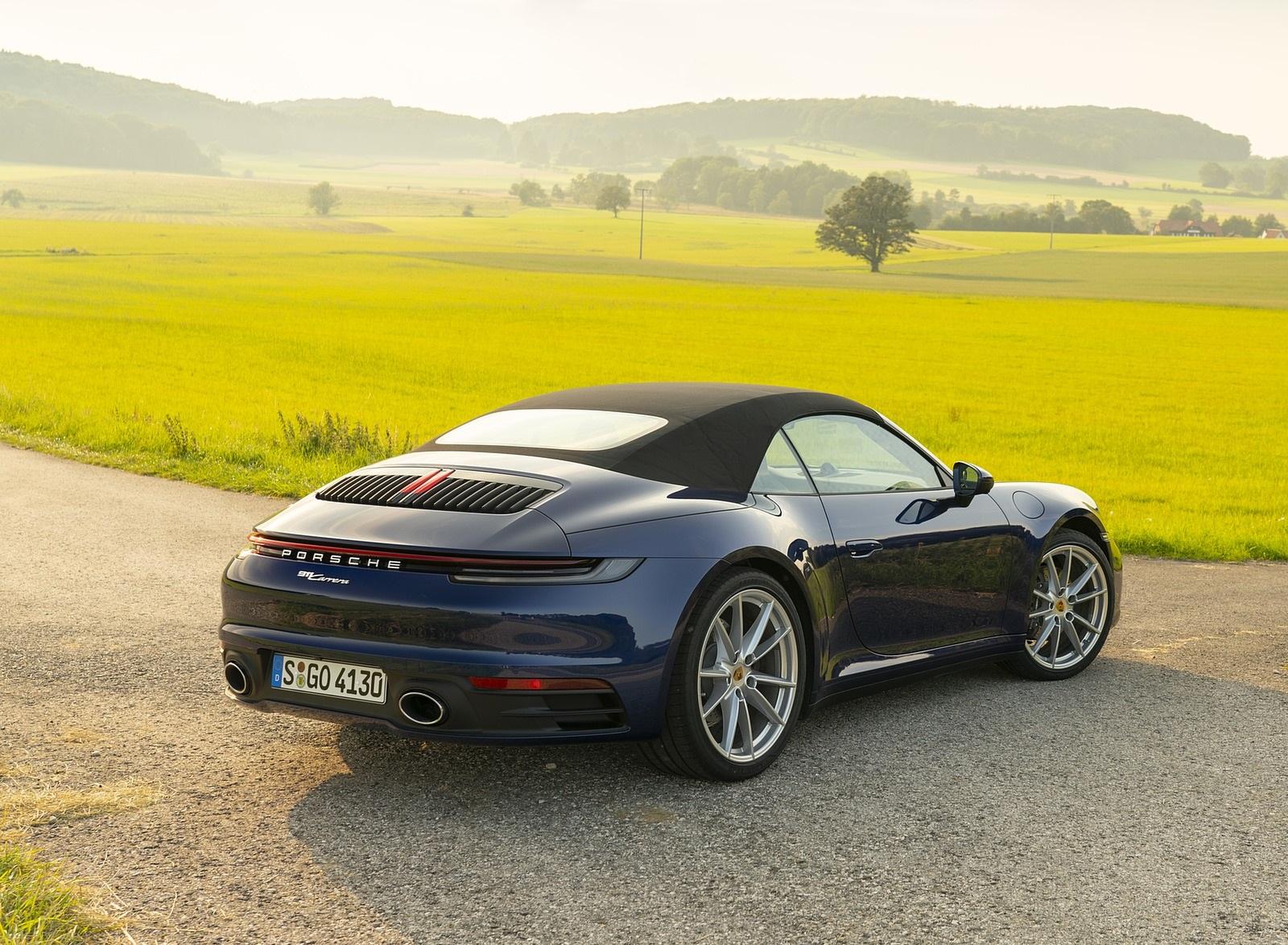 2020 Porsche 911 Carrera Cabriolet Color Gentian Blue Metallic Rear Three Quarter Wallpapers 39 Newcarcars