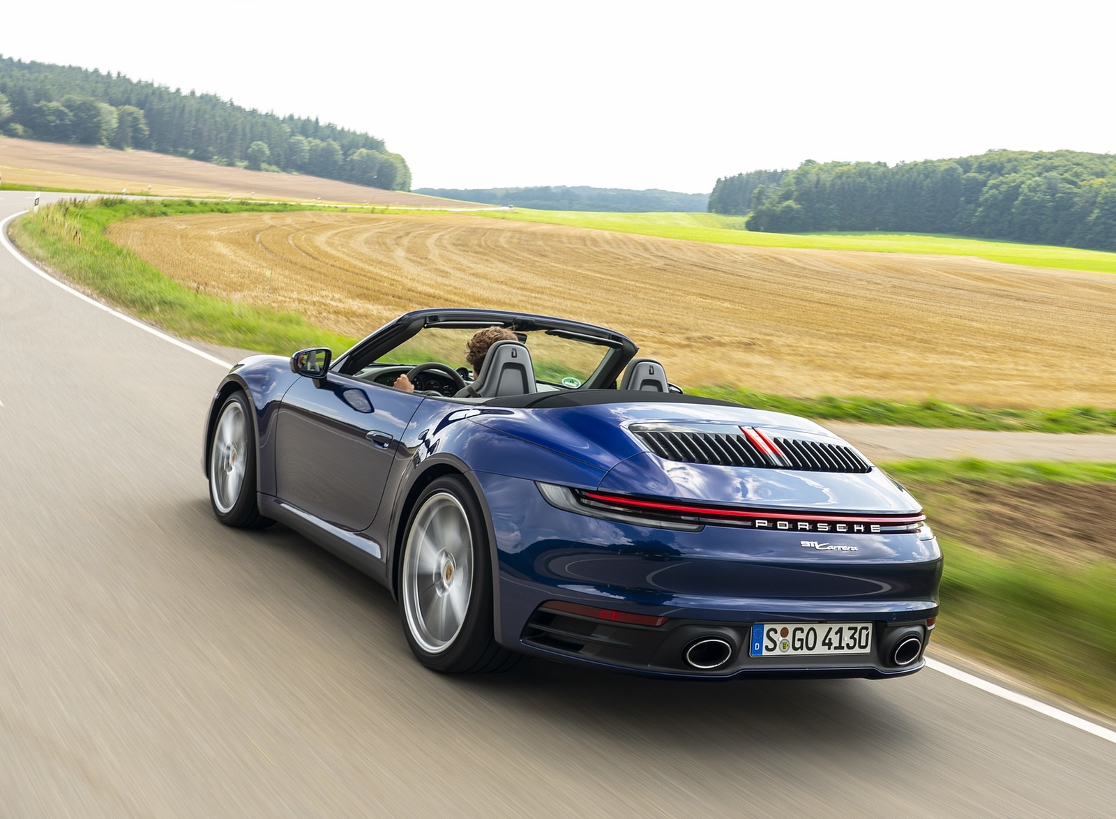 2020 Porsche 911 Carrera Cabriolet (Color: Gentian Blue Metallic) Rear Three-Quarter Wallpapers (5)