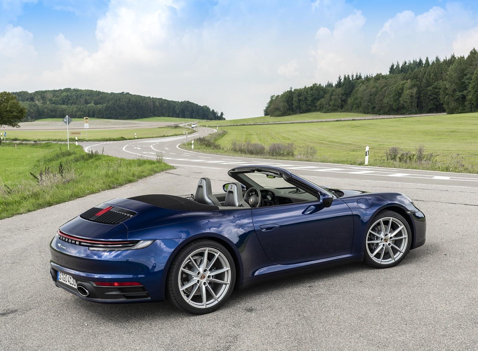 2020 Porsche 911 Carrera Cabriolet Color Gentian Blue Metallic Rear Three Quarter Wallpapers 29 Newcarcars