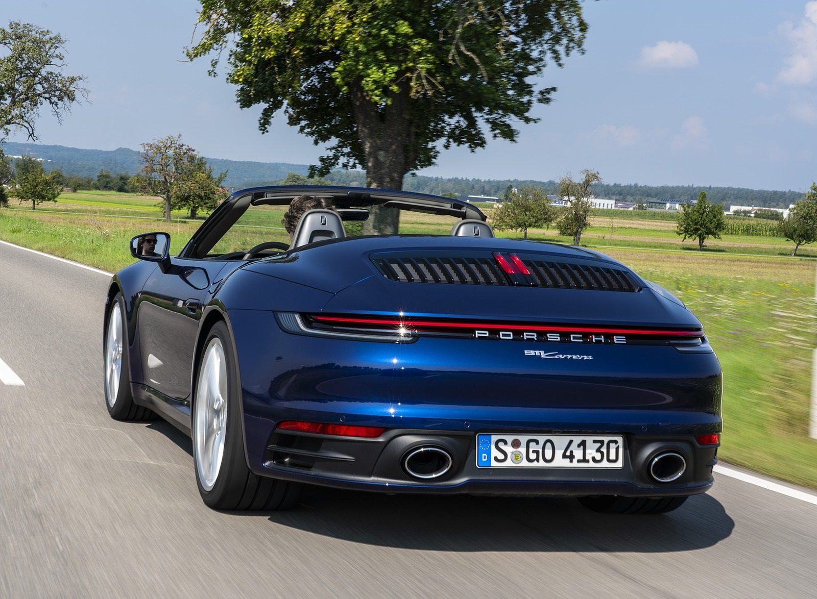 2020 Porsche 911 Carrera Cabriolet Color Gentian Blue Metallic Rear Three Quarter Wallpapers 21 Newcarcars