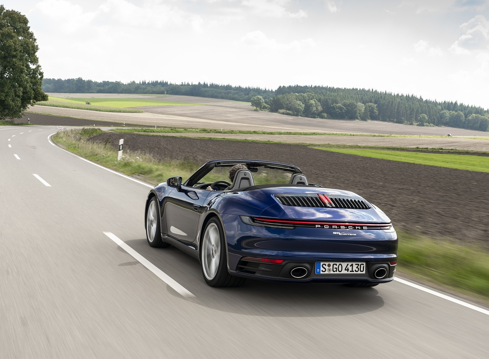 2020 Porsche 911 Carrera Cabriolet (Color: Gentian Blue Metallic) Rear Three-Quarter Wallpapers (6)