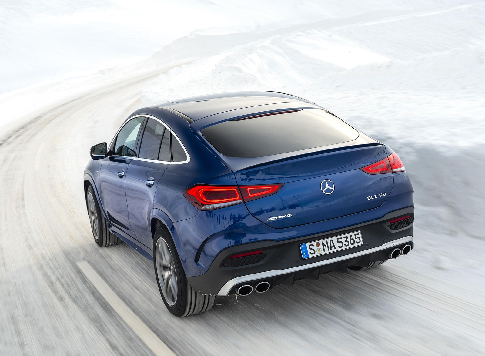 2021 Mercedes-AMG GLE 53 4MATIC Coupe (Color: Brilliant Blue Metallic) Rear Three-Quarter Wallpapers (2)