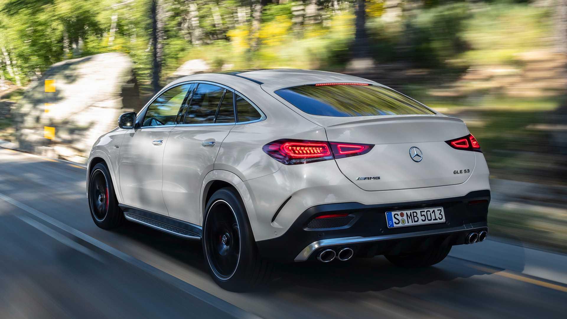 2021 Mercedes-AMG GLE 53 Coupe 4MATIC+ (Color: Designo Diamond White Bright) Rear Three-Quarter Wallpapers (3)