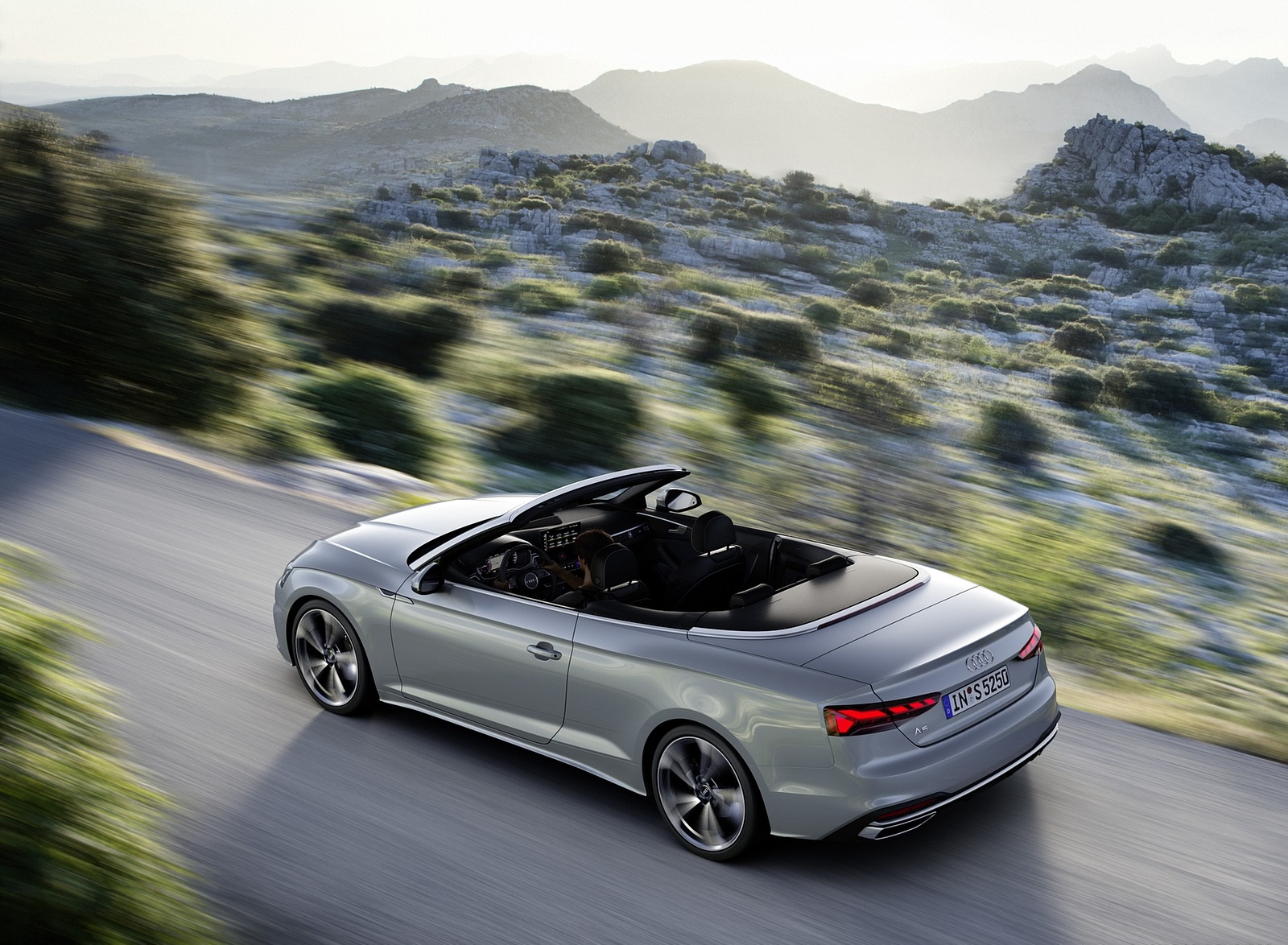 2020 Audi A5 Cabriolet (Color: Florett Silver) Rear Three-Quarter Wallpapers (3)