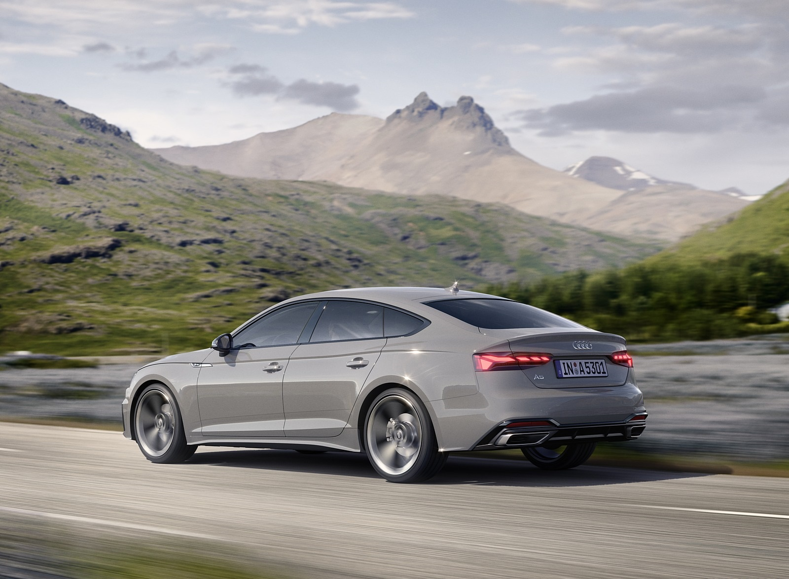 2020 Audi A5 Sportback (Color: Quantum Gray) Rear Three-Quarter Wallpapers (5)