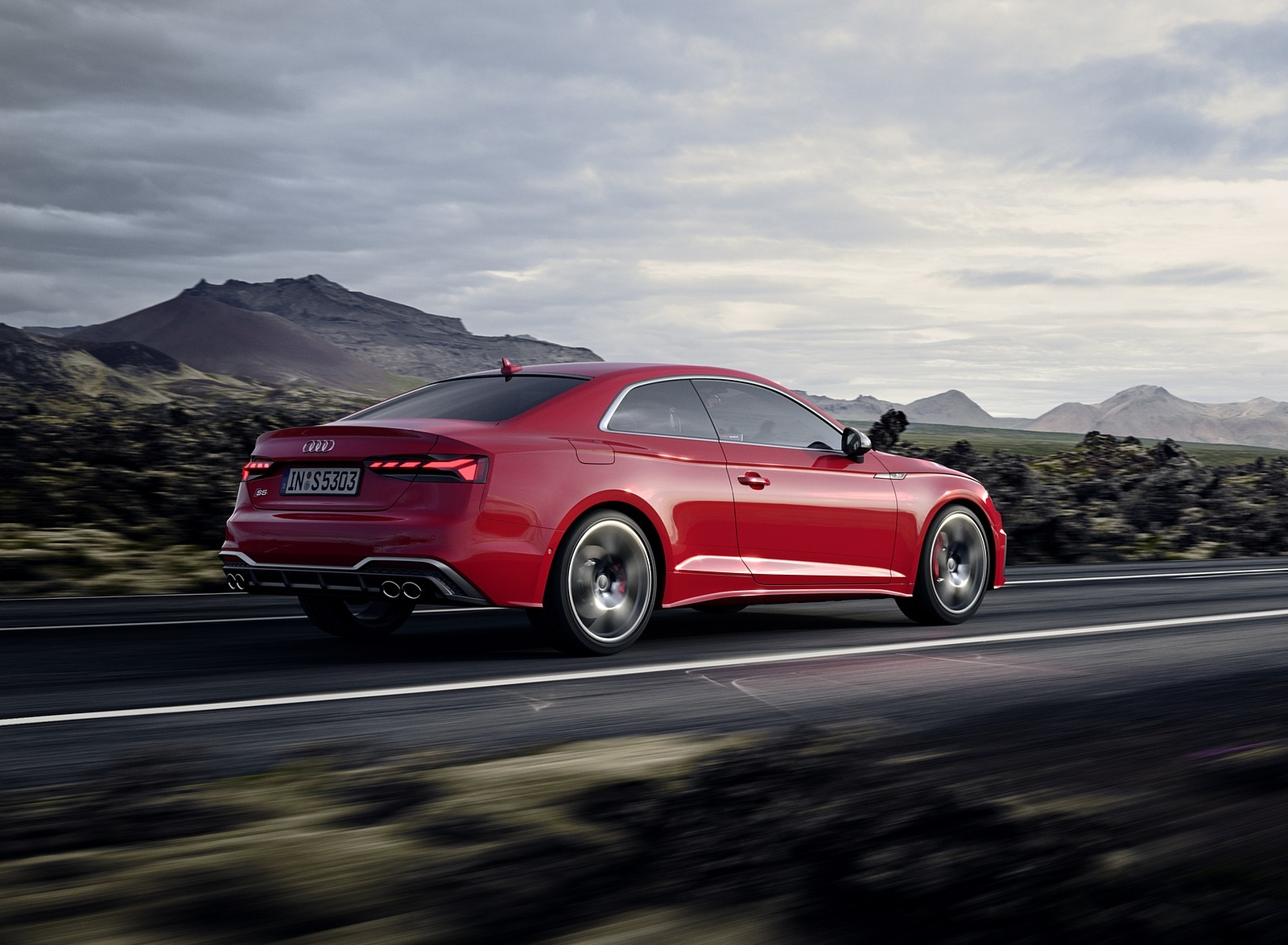 2020 Audi S5 Coupe TDI (Color: Tango Red) Rear Three-Quarter Wallpapers (3)