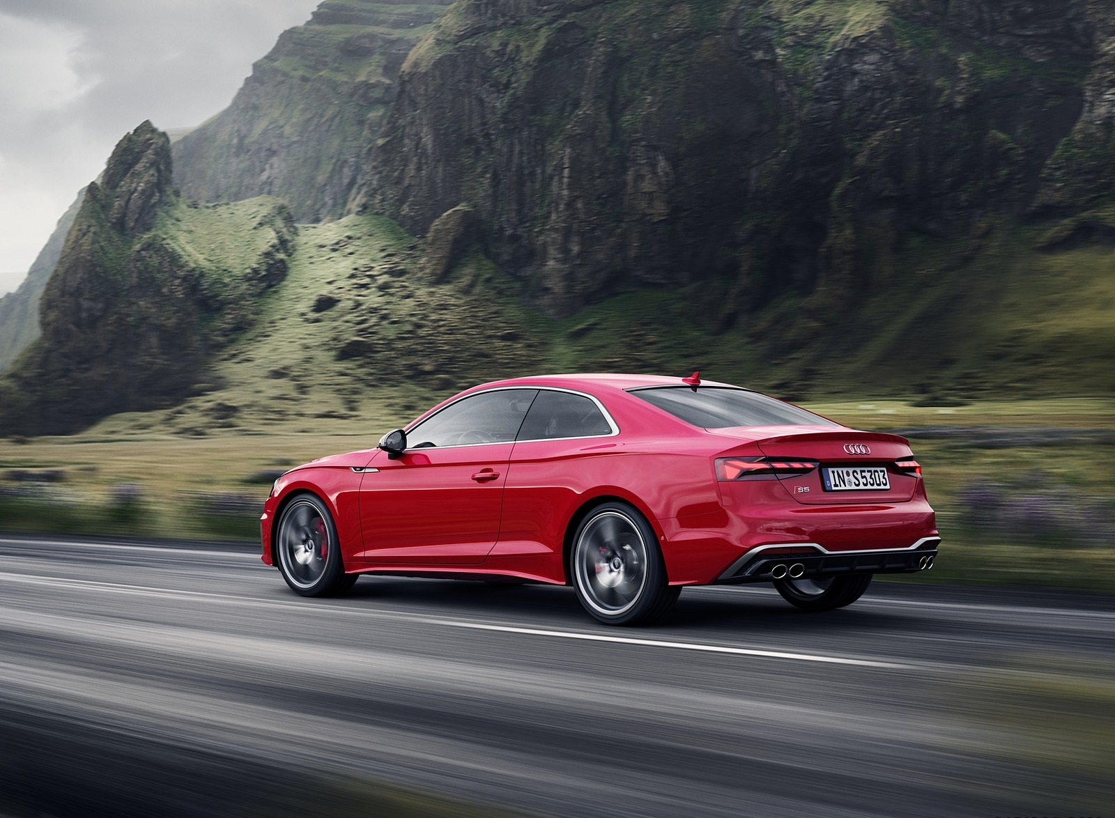 2020 Audi S5 Coupe TDI (Color: Tango Red) Rear Three-Quarter Wallpapers (4)