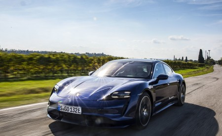 2020 Porsche Taycan Turbo (Color: Gentian Blue Metallic) Front Three-Quarter Wallpapers 450x275 (3)