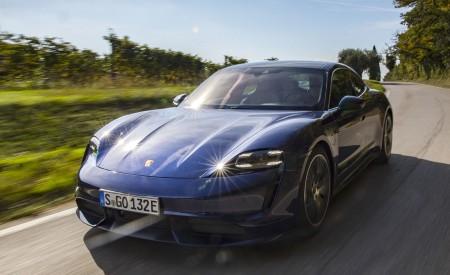 2020 Porsche Taycan Turbo (Color: Gentian Blue Metallic) Front Three-Quarter Wallpapers 450x275 (5)