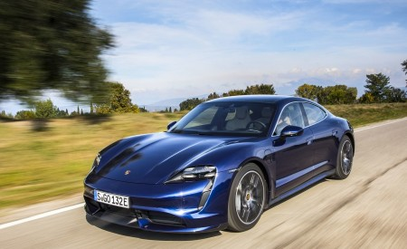 2020 Porsche Taycan Turbo (Color: Gentian Blue Metallic) Front Three-Quarter Wallpapers 450x275 (4)