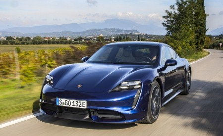 2020 Porsche Taycan Turbo (Color: Gentian Blue Metallic) Front Wallpapers 450x275 (7)