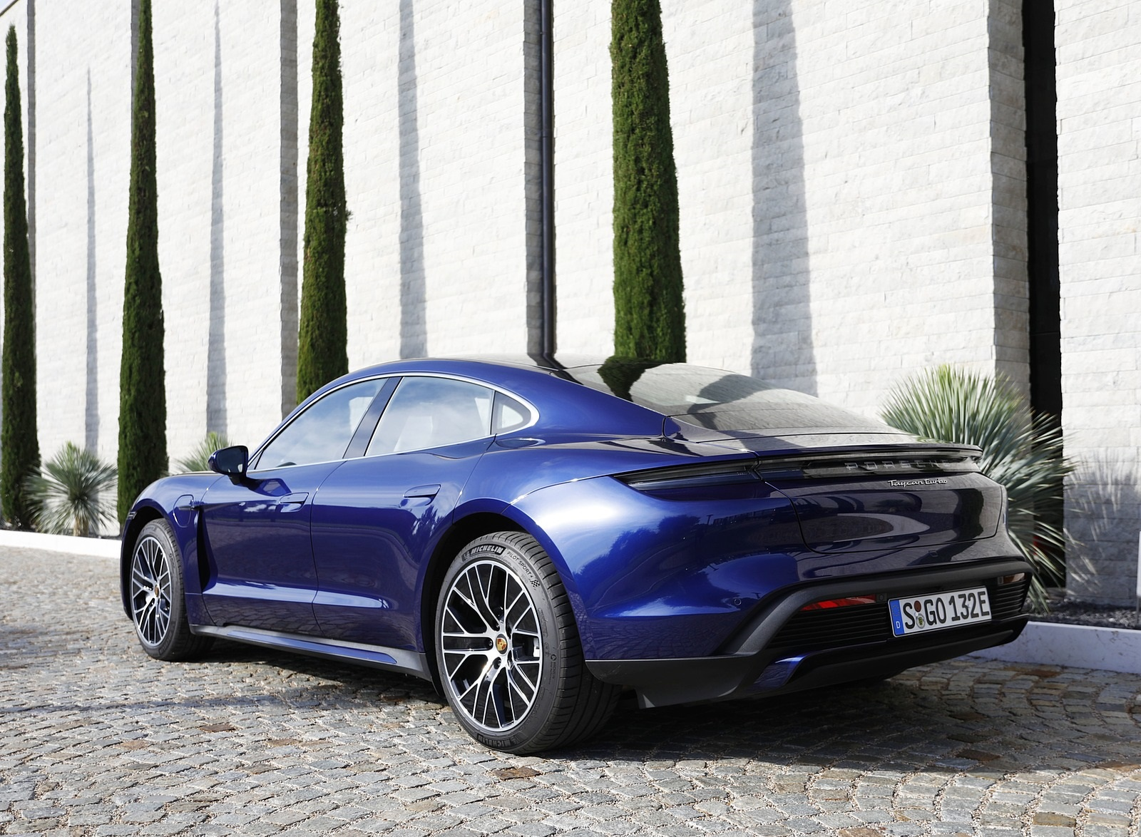2020 Porsche Taycan Turbo Color Gentian Blue Metallic Rear Three Quarter Wallpapers 10 Newcarcars