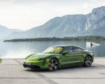 2020 Porsche Taycan Turbo S (Color: Mamba Green Metallic) Front Three-Quarter Wallpapers 150x120 (11)