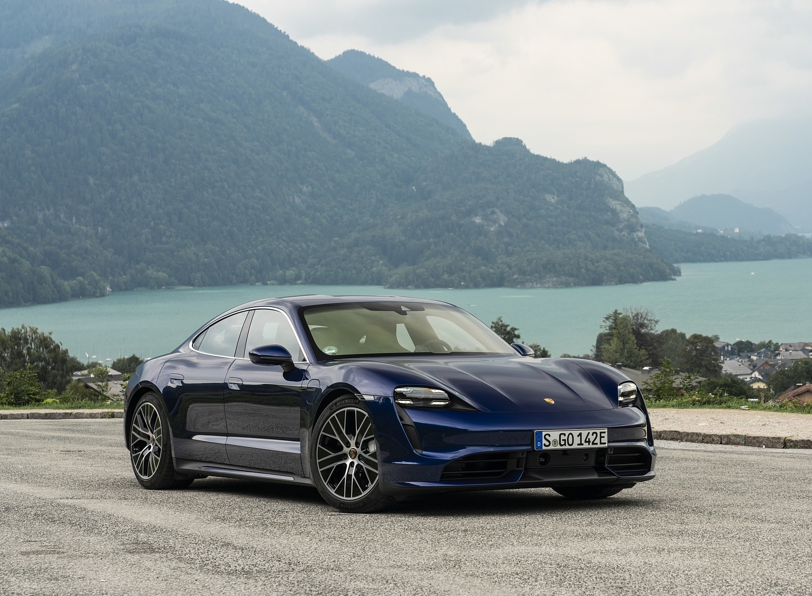 2020 Porsche Taycan Turbo S Color Night Blue Metallic Front Three Quarter Wallpapers 67 Newcarcars