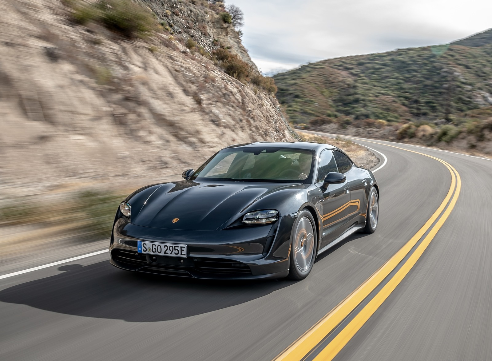 2020 Porsche Taycan 4S Color Volcano Grey Metallic Front Three
