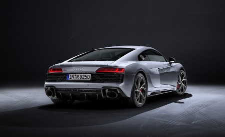 2020 Audi R8 V10 RWD Coupe (Color: Florett Silver) Rear Three-Quarter Wallpapers 450x275 (25)